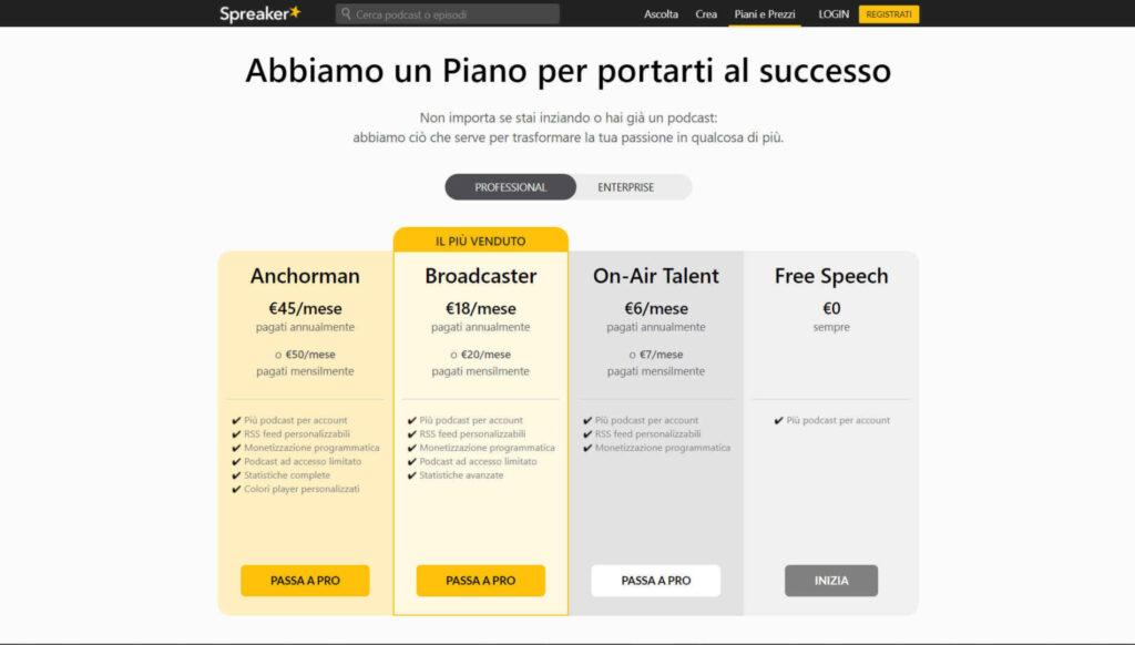 Screen della schermata che mostra i diversi piani a pagamento di Spreaker