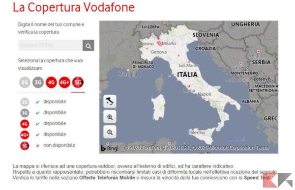 Copertura 5G Vodafone