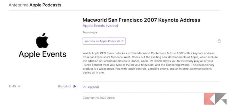 Come vedere on demand le presentazioni di Apple su podcast