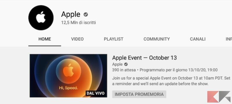 Come vedere in diretta le presentazioni di Apple su YouTube