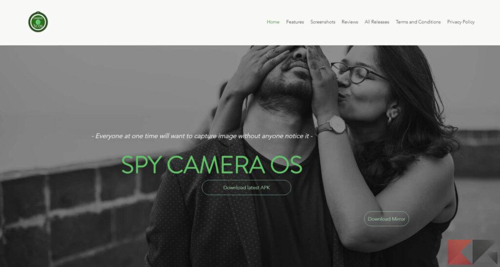 Screen della home del sito per registrare video, SpyCameraOS