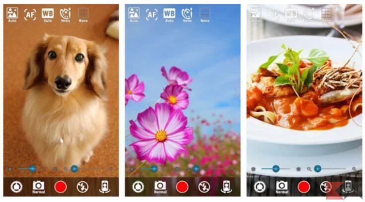 Screen interfaccia app Fotocamera Silenziosa