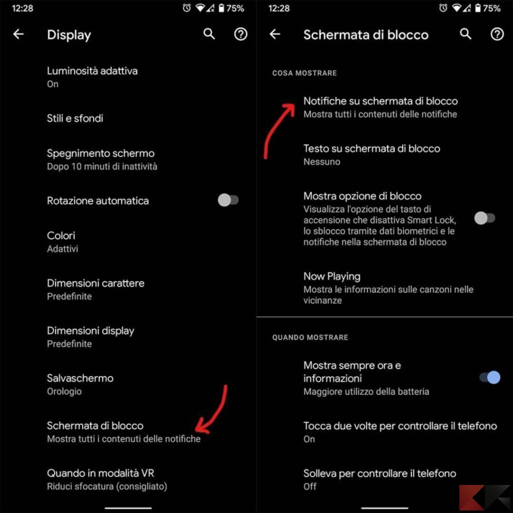 come non far vedere i messaggi sul blocco schermo android 1
