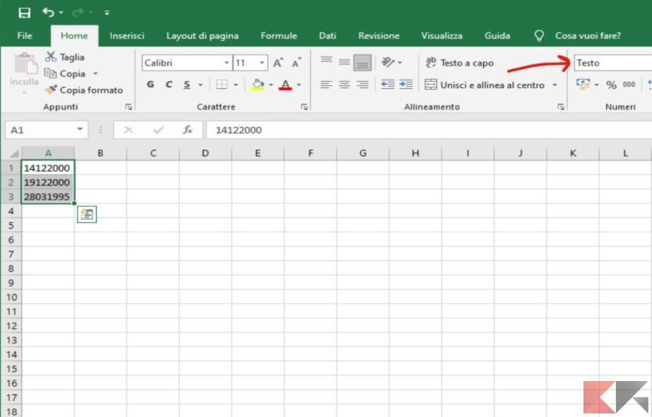 come convertire testo in numero su Excel verifica formattazione