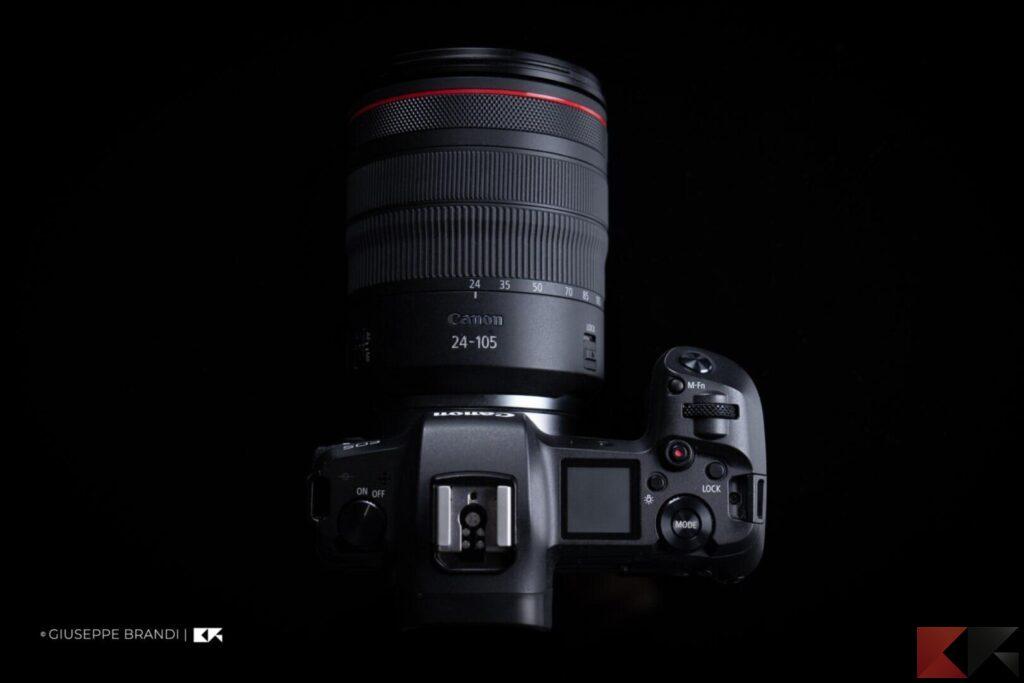 Recensione Canon EOS R parte superiore