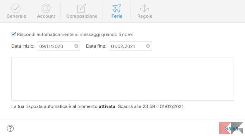 Come impostare risposta automatica Mail su Mac 4