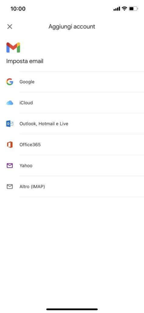 aggiungere account Gmail
