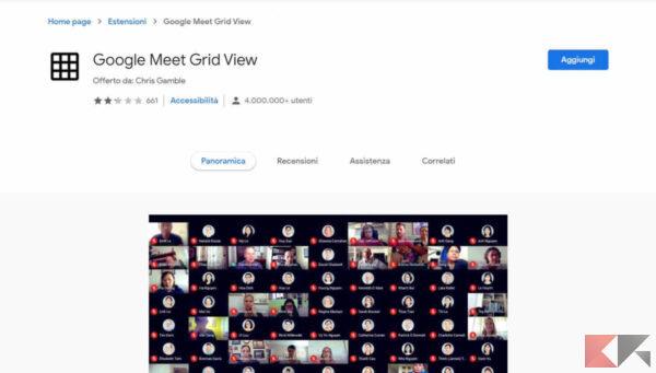 come mettere la griglia su Google Meet