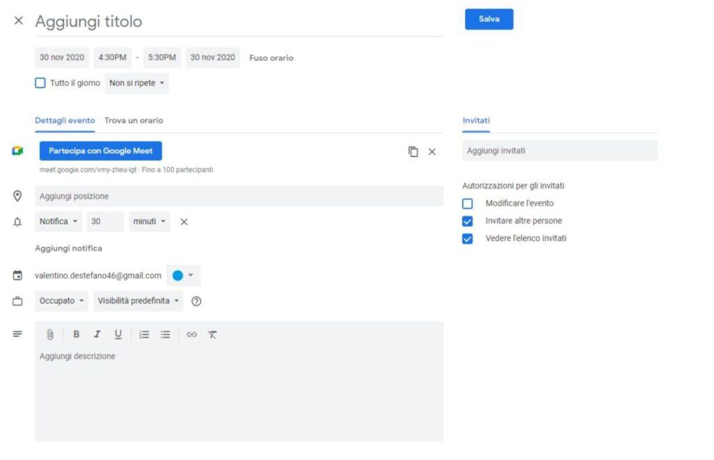 google calendar meet