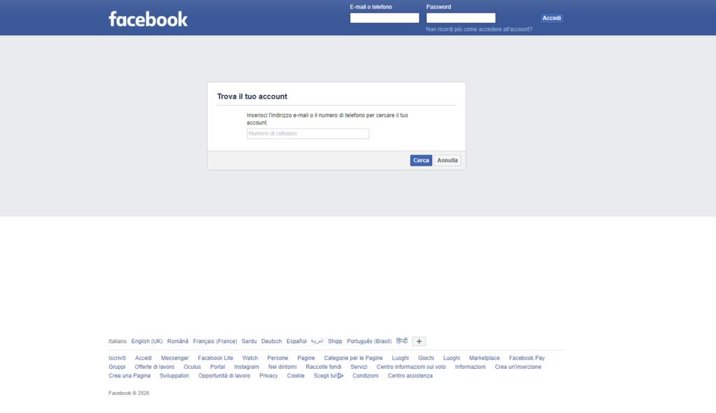 recupero password facebook