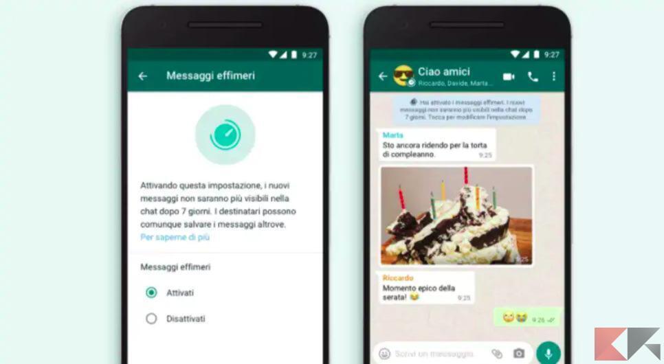 Messaggi effimeri WhatsApp: cosa sono e come si usano