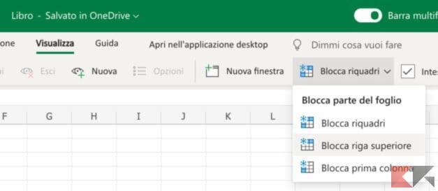 Come bloccare una riga su Excel 1