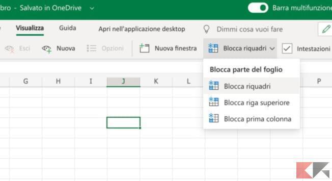 Come bloccare una riga su Excel 2