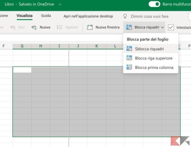 Come bloccare una riga su Excel 3