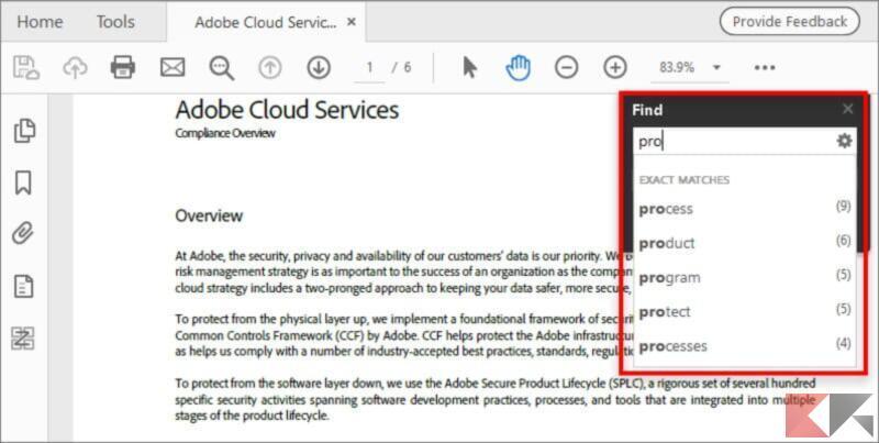 Cercare parole in un PDF su Adobe Acrobat Reader