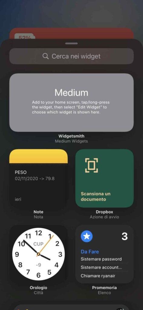 schermata widget ios