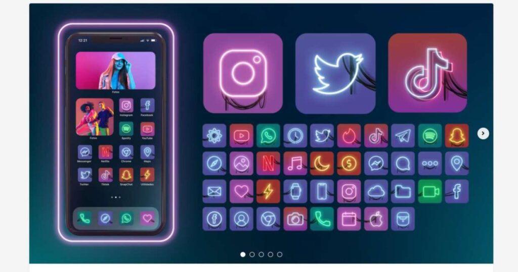 set icone neon tokio