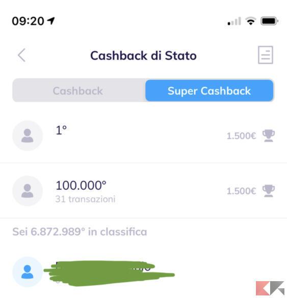 Come vedere la posizione in classifica del super cashback 2