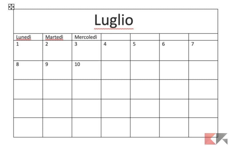 Come creare un calendario in Microsoft Word 6