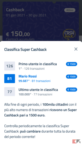 Come vedere la posizione in classifica del super cashback 1