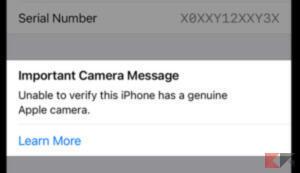 Come capire se la fotocamera sostituita di iPhone è originale