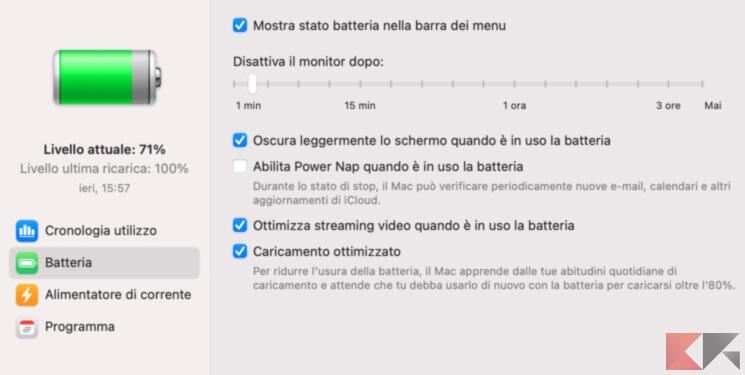 Come risparmiare energia e batteria su Mac 4