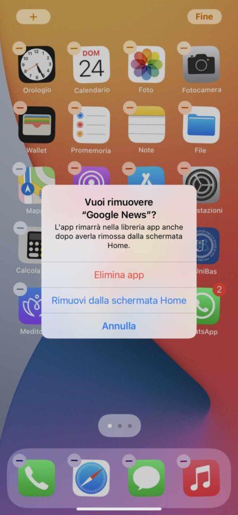 eliminare app da schermata home