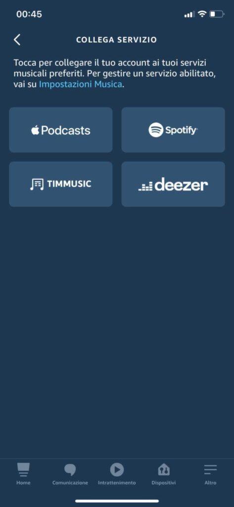 servizi musica alexa 2