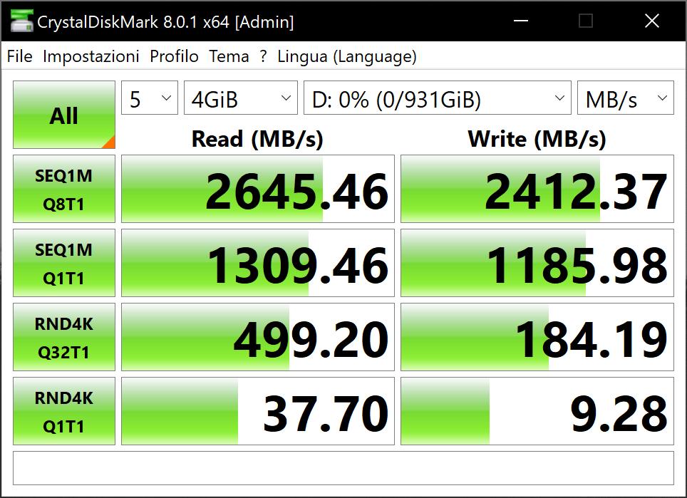CrystalDiskMark D50 5x4gb