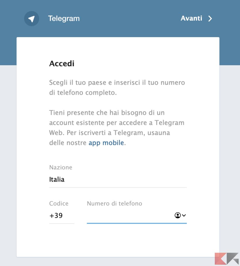 Telegram Web: come funziona 1