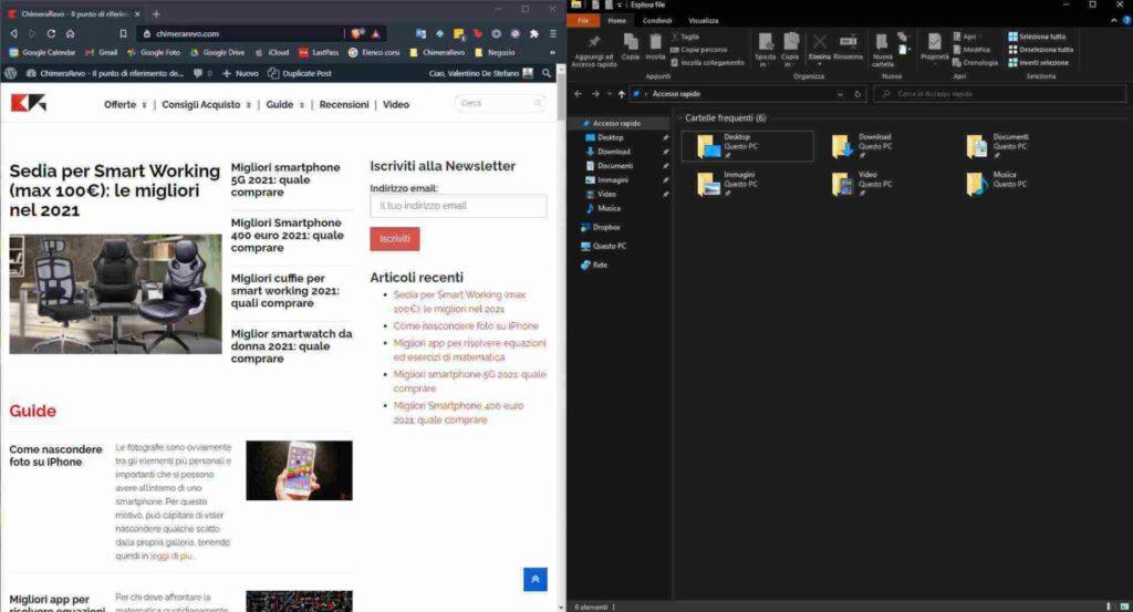 dividere lo schermo con windows 10