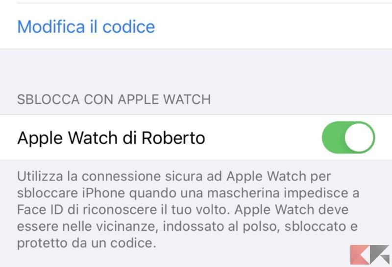 Attivare lo sblocco con Apple Watch