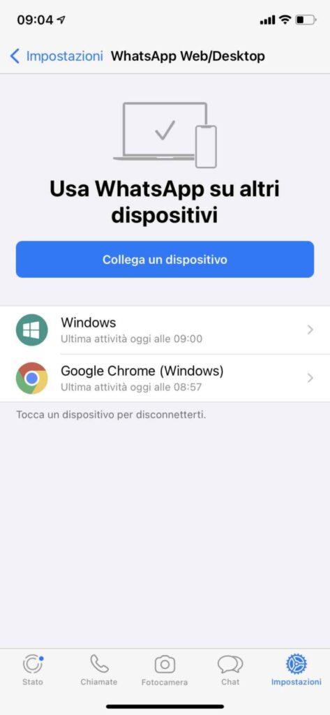 disconnettere whatsapp web con ios