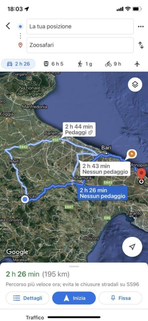 scelta percorsi google maps
