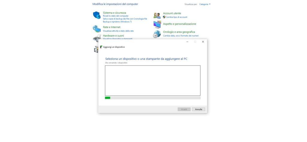 aggiungere dispositivo pannello di controllo windows 10