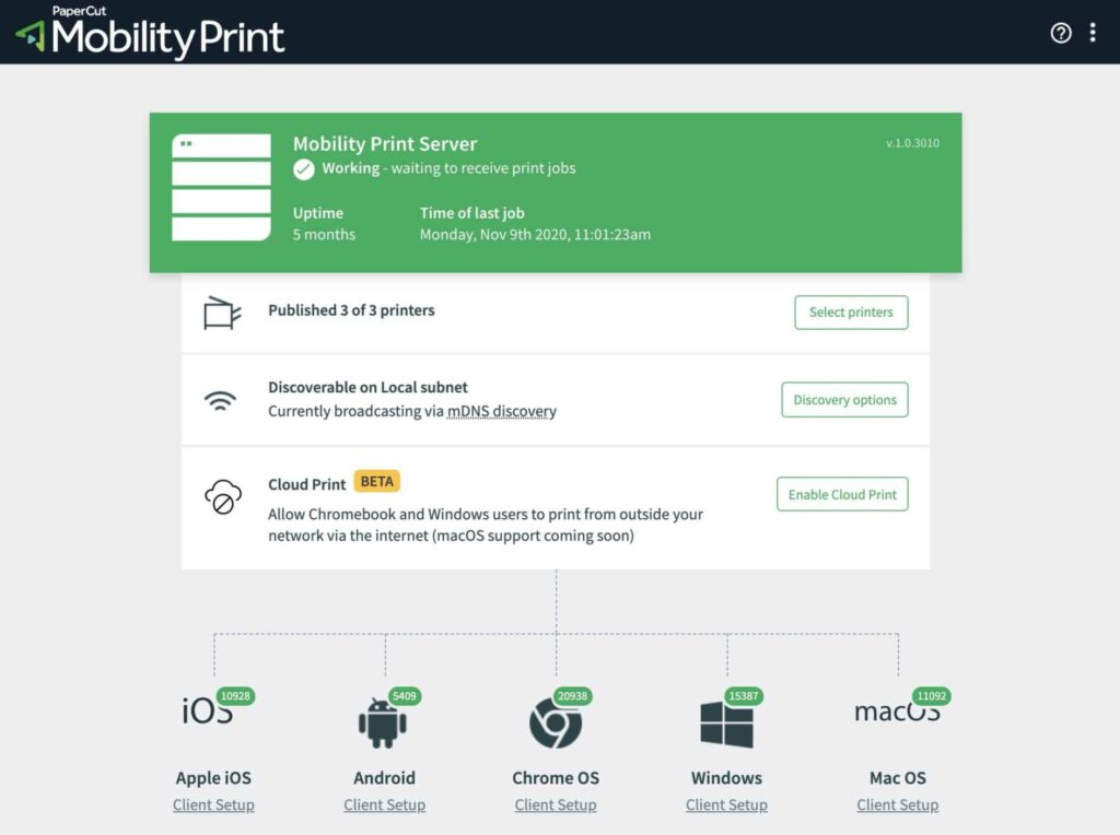 papercut mobility print