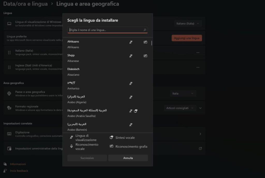 aggiungere una nuova lingua su Windows 11