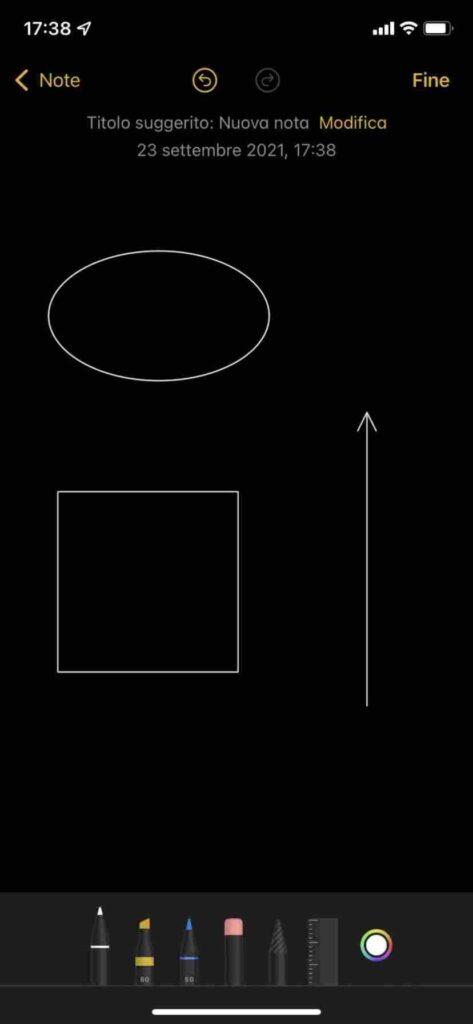 disegnare forme e frecce iPhone nelle note