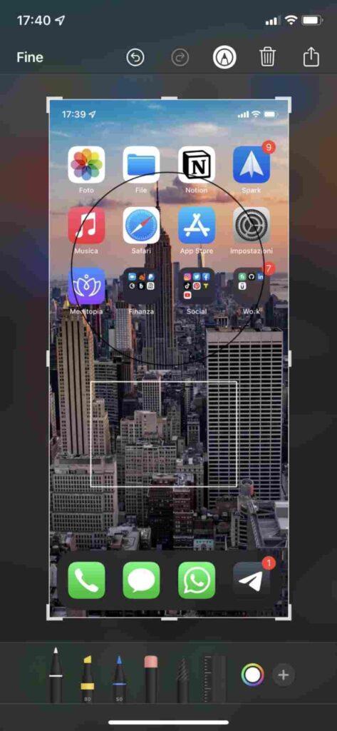disegnare forme e frecce iphone screenshot