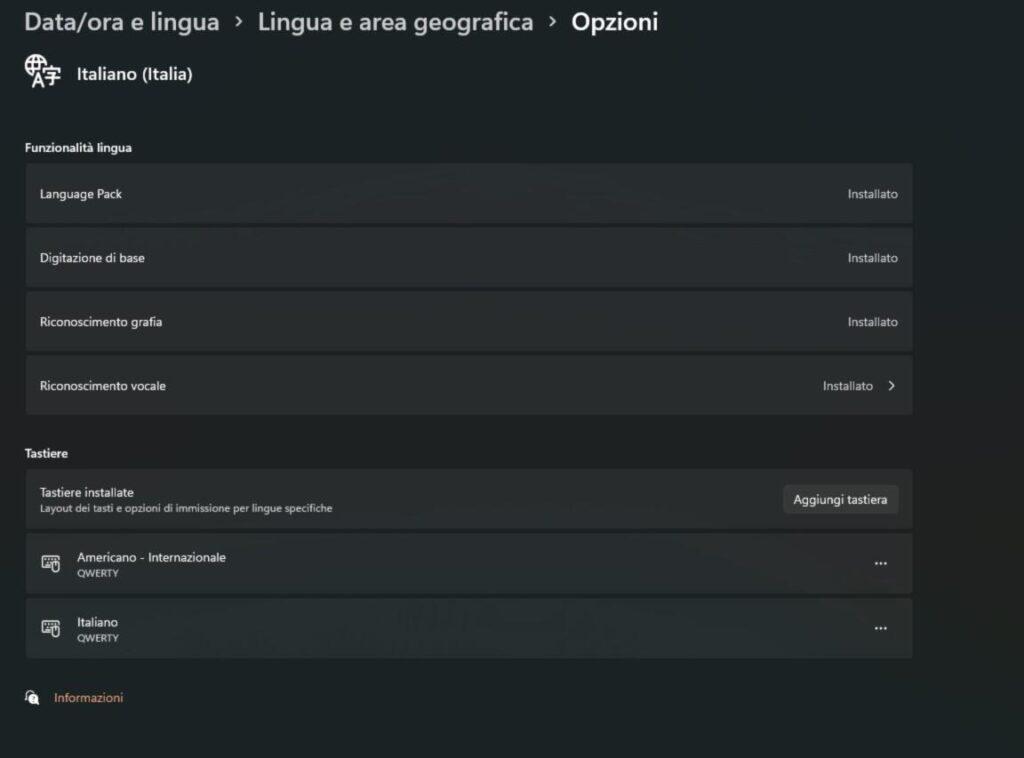 funzionalità lingua Windows 11