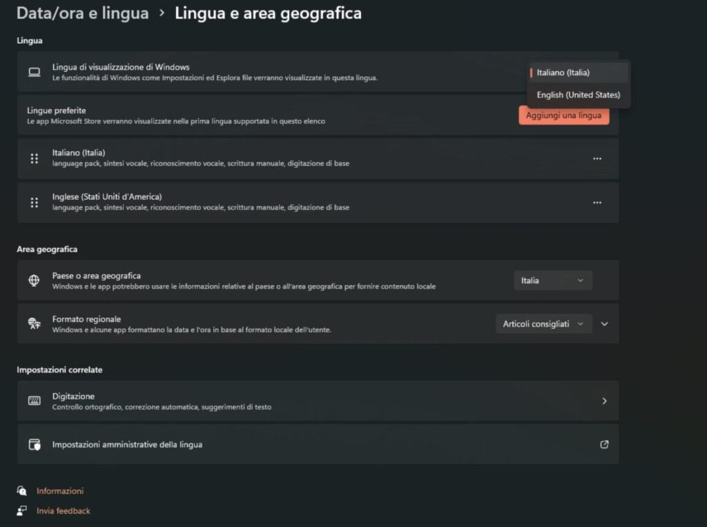 impostare lingua windows 11