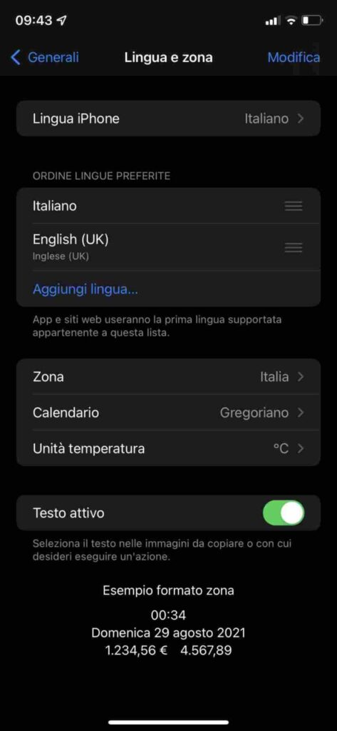 lingua e zona iphone