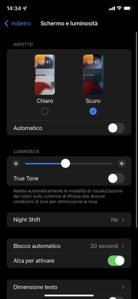 tema scuro iphone