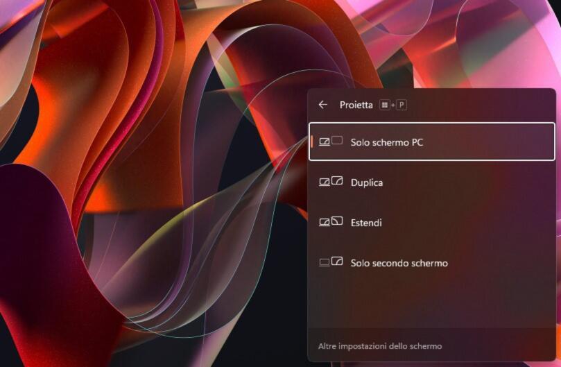 modalità di proiezione windows 11