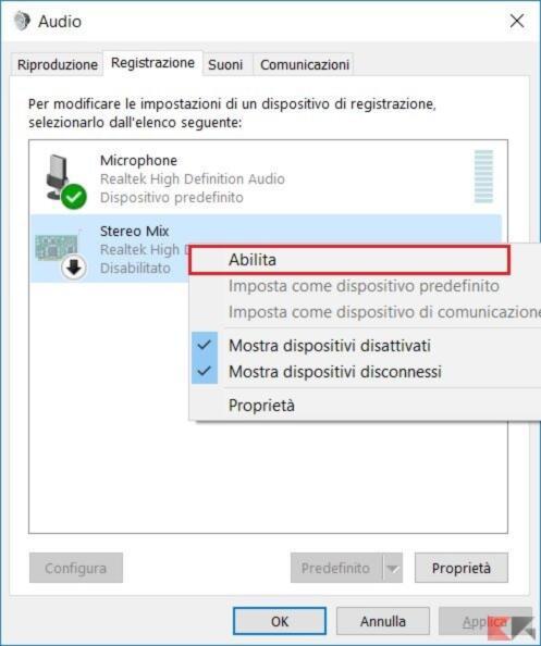 pannello registrazione windows 10
