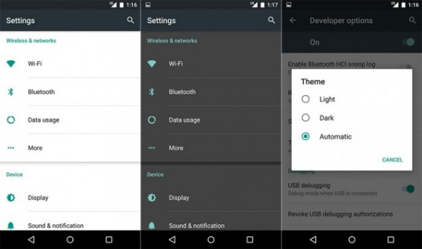 Android M - tema scuro