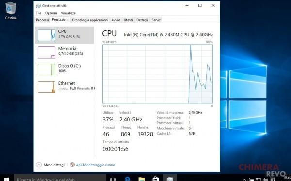 Consumo risorse Windows 10