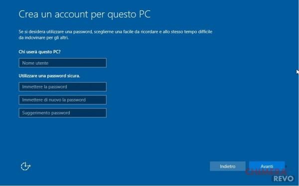 Crea account PC