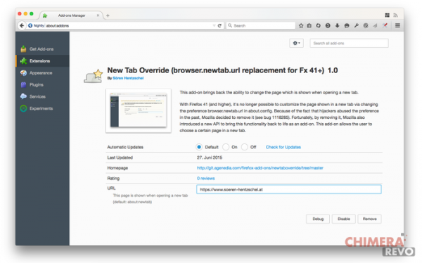 New Tab Override Firefox