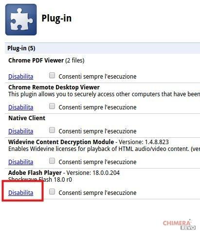 Disattivare Flash su Google Chrome